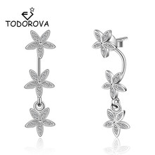 Todorova Korean Fashion Cubic Zircon Crystal Ear Jackets Jewelry Star Flower Stud Earrings for Women Boucle Doreille Aros