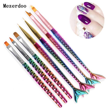 1Pc Mermaid Handle Nail Brush Nail Liner Painting Drawing Flower Pen Gradient UV Gel Acrylic Manicure Nail Art Tool Accessories все цены