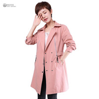 2017 Autumn New Women Trench Coat Pure Color Turn Down Collar Full Sleeve Long Outerwear Female