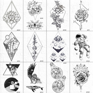Мужские 3D тату VANKIRS, геометрические, с ромб, цветочные, временная, черная рука, дерево, Горный цветок, тату, тело, щиколотка, тату