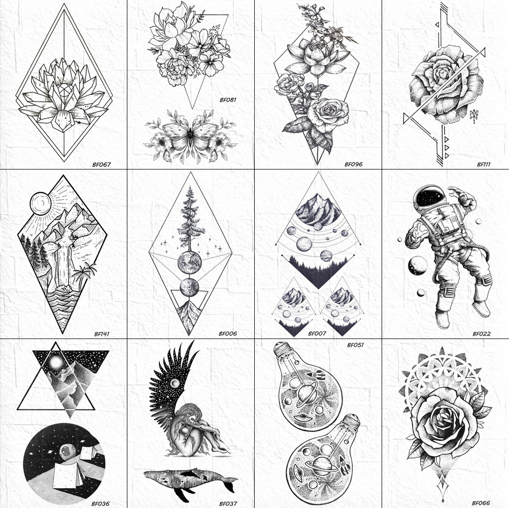 Vankirs 3d Geometric Rhombus Floral Tattoos Temporary Men Black Arm Tree Mountain Flower Tatoo Stickers Body Ankle Cosmos Tattoo Temporary Tattoos Aliexpress