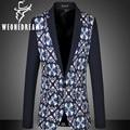 New  2017 Blazers For Men fashion Lattice Mens Suit Blazer Slim Fit Dress Suit Jacket Coats