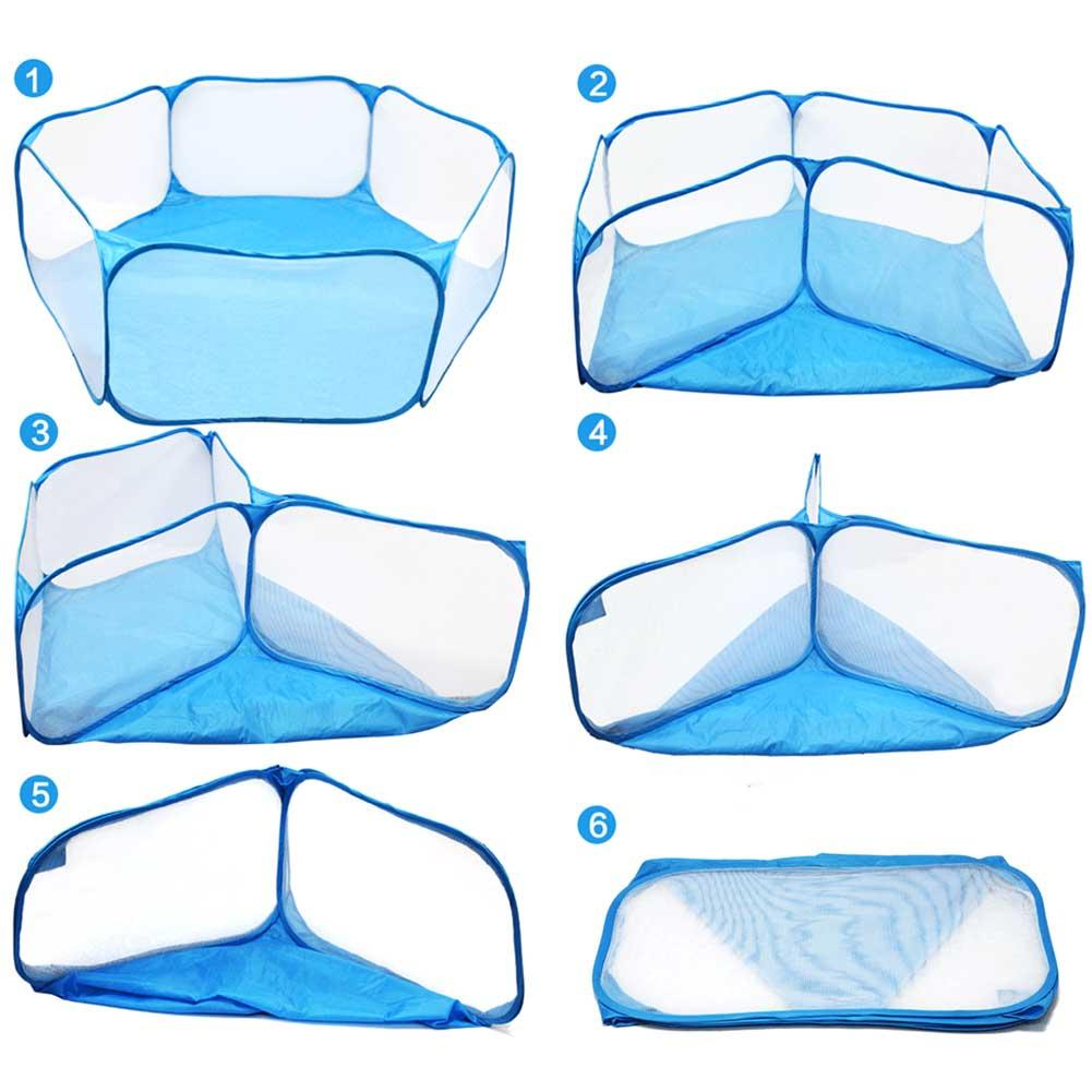 Small Animals Cage Tent Summer Portable Foldable Breathable Pet Playpen Pop Open Folding Yard Fence