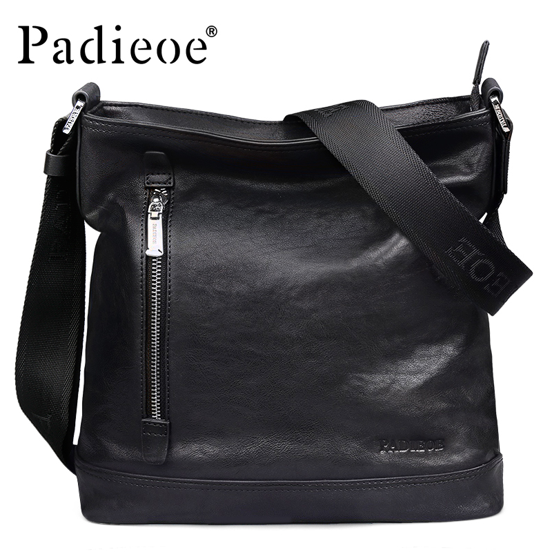 Padieoe Cowhide Genuine Leather Men Bag Casual Men's Messenger Bag Business Shoulder Bag for Male Fashion Crossbody Bag for Ipad