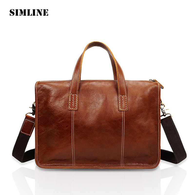SIMLINE Vintage Genuine Cow Leather Men Business Tote Handbag Handbags Shoulder Messenger Crossbody Bag Laptop Bags Briefcase pair of charming faux crystal hoop earrings for women