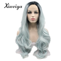 Xiweiya Heat resistant mix color mint blue synthetic lace front wig women long wavy blue hair glueless hair replace everyday wig