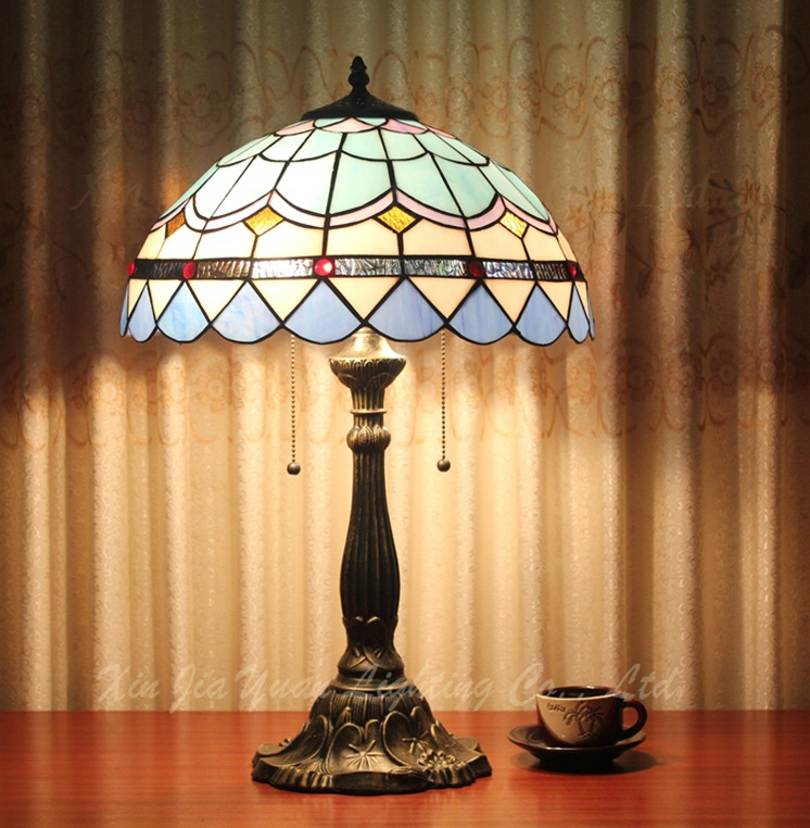 American Blue Mediterranean bedroom Living room suite Hotel Stained glass table lamp Tiffany large size desk lamp dia40CM