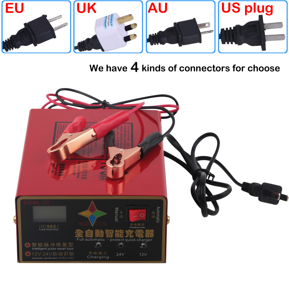 New 12V 24V 10A 6 105AH Universal Car font b Battery b font Charger US Motorcycle