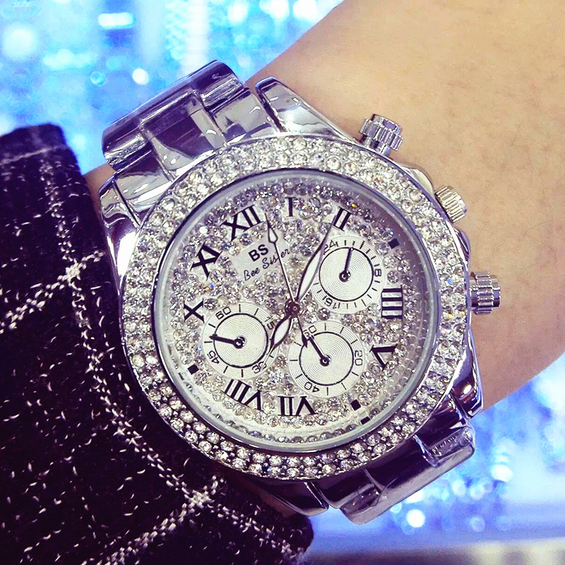 Ladies Luxury Fashion Steel Watches Men Crystal Rhinestone Reloj Woman Watch Sparkling Shining Large Dial Watch Brand Watches