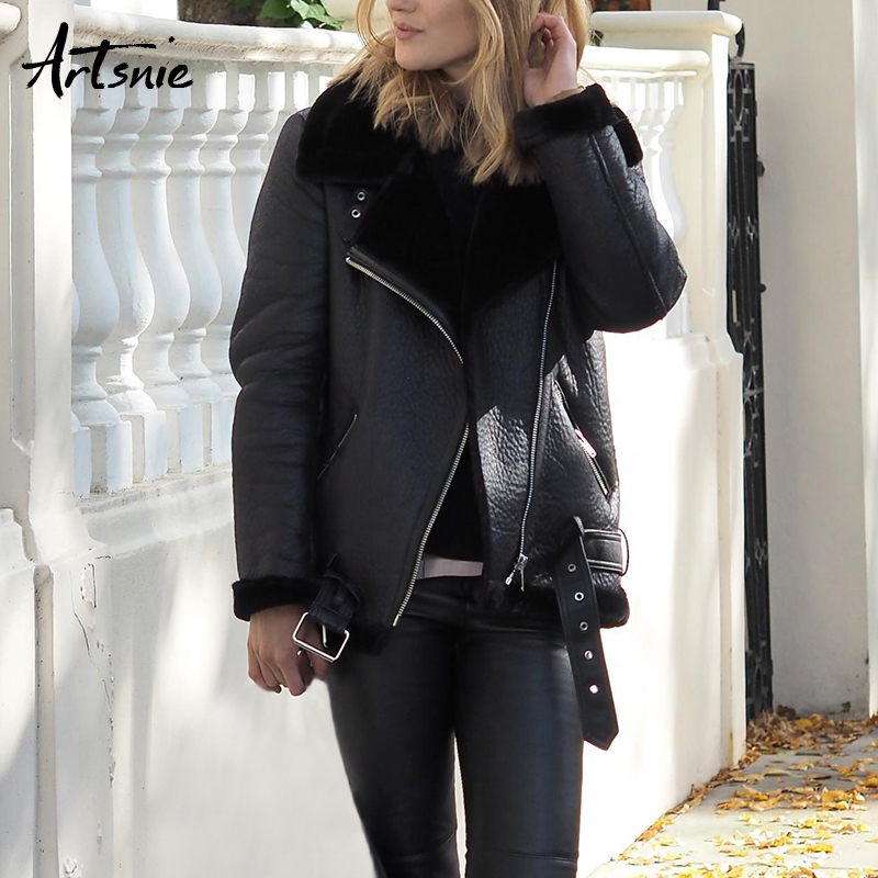 Artsnie Autumn 2018 Casual Faux Leather Jackets Women Winter Sashes Zipper Streetwear Biker Motorcycle Jacket Girls