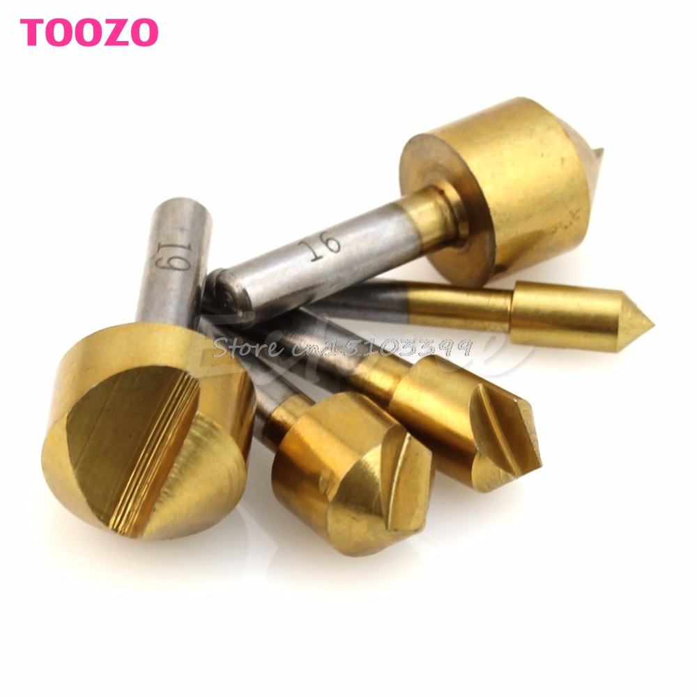 New 5Pcs Titanium Countersink Steel 90 Degree Flute Chamfer Metric Drill Bit 6mm-19mm G08 Drop ship foot care tool skin care feet dead dry skin removal electric pedicure foot file heel cuticles rasp velvet smooth machine