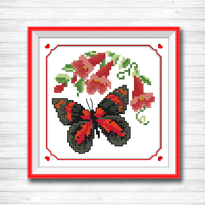 Butterflies In A Butterfly Cartoon Animals Counted Cross Stitch Chinese Cross Stitch Set Diy Needlework 14ct Cross Stitch Kit Home & Garden