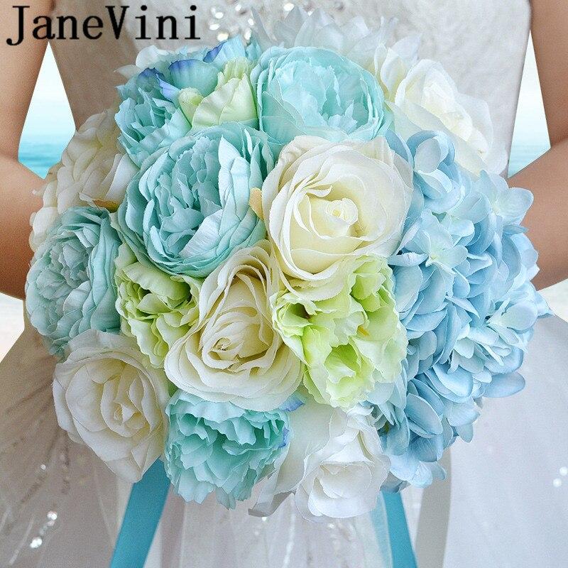 Light Blue Flowers For Weddings: JaneVini Romantic Flowers Bouquets For Beach Wedding Light