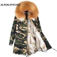 2017 Parka Feminina Long Winter Jacket Coat Women Parkas Camouflage Real Raccoon Fur Collar Hooded Natural
