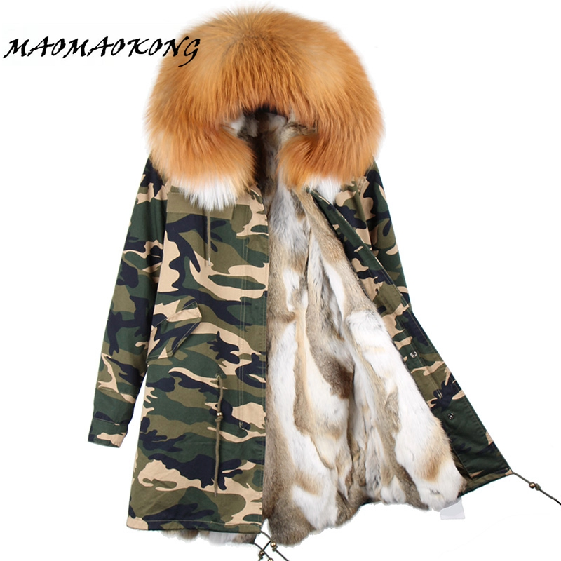 2017 Parka Feminina Long Winter Jacket Coat Women Parkas Camouflage Real Raccoon Fur Collar Hooded Natural Rex Rabbit Fur Liner 2017 winter new clothes to overcome the coat of women in the long reed rabbit hair fur fur coat fox raccoon fur collar