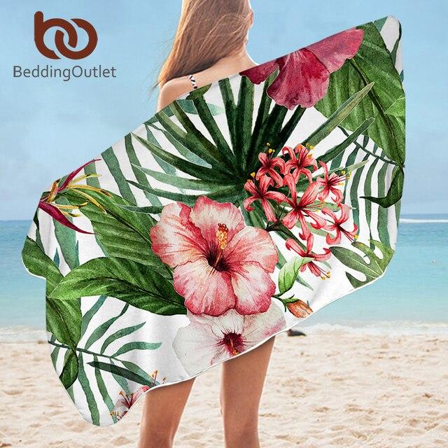 BeddingOutlet Floral Bath Towel Bathroom Tropical Plants Microfiber Beach Towel Leaf Pineapple Shower Towel Toucan toalla playa 1
