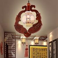 Китайский стиль деревянный небольшие керамические Открытый Подвесные Светильники резного дерева ledart ресторан Чайхана домашнего освещени