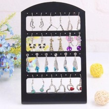 2017 Hot Selling!!!48 Holes Jewelry Organizer Woman Black Plastic Holder Fashion Earrings Display Rack