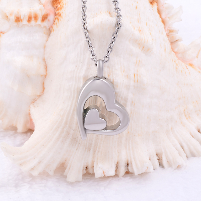 Curve Double Heart Urn Necklace