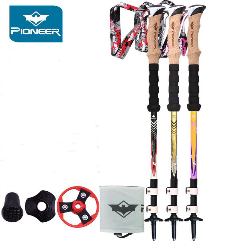 PIONEER Nordic Walking Poles Camping Hiking Stick Lightweights Telescopic Trekking Walking Cane Climbing Equipment 2PCS/LOT