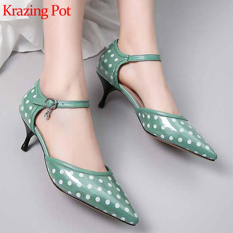 Krazing pot dot patterns sheep leather high heels office lady shallow party women brand wedding pointed
