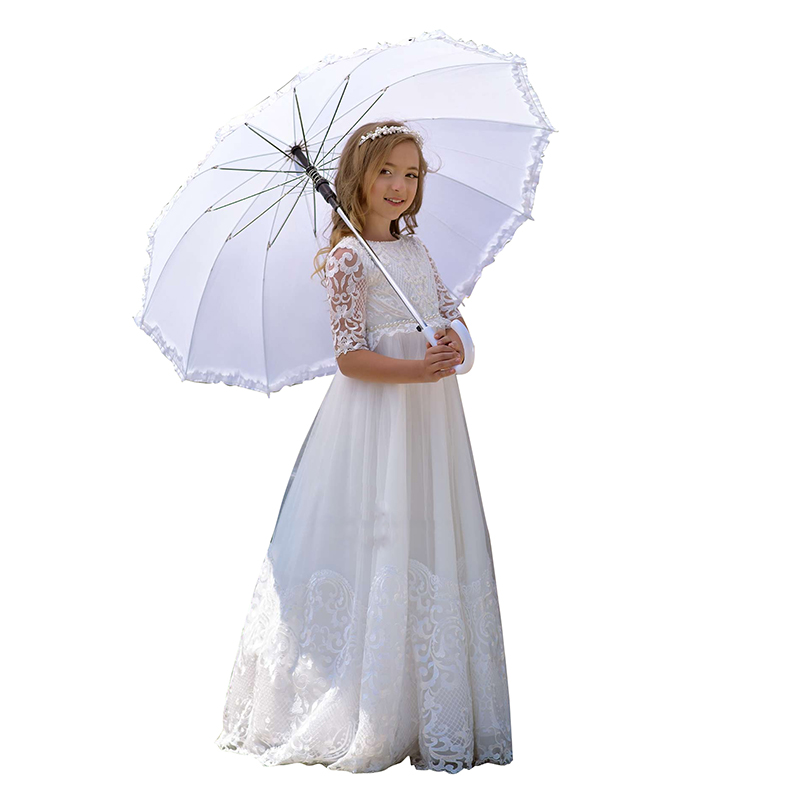 Princess Soft Tulle White Puffy A Line Lace Flower Girl Dresses 2019 Girls Pageant Dress First Communion Dresses Party GownPrincess Soft Tulle White Puffy A Line Lace Flower Girl Dresses 2019 Girls Pageant Dress First Communion Dresses Party Gown