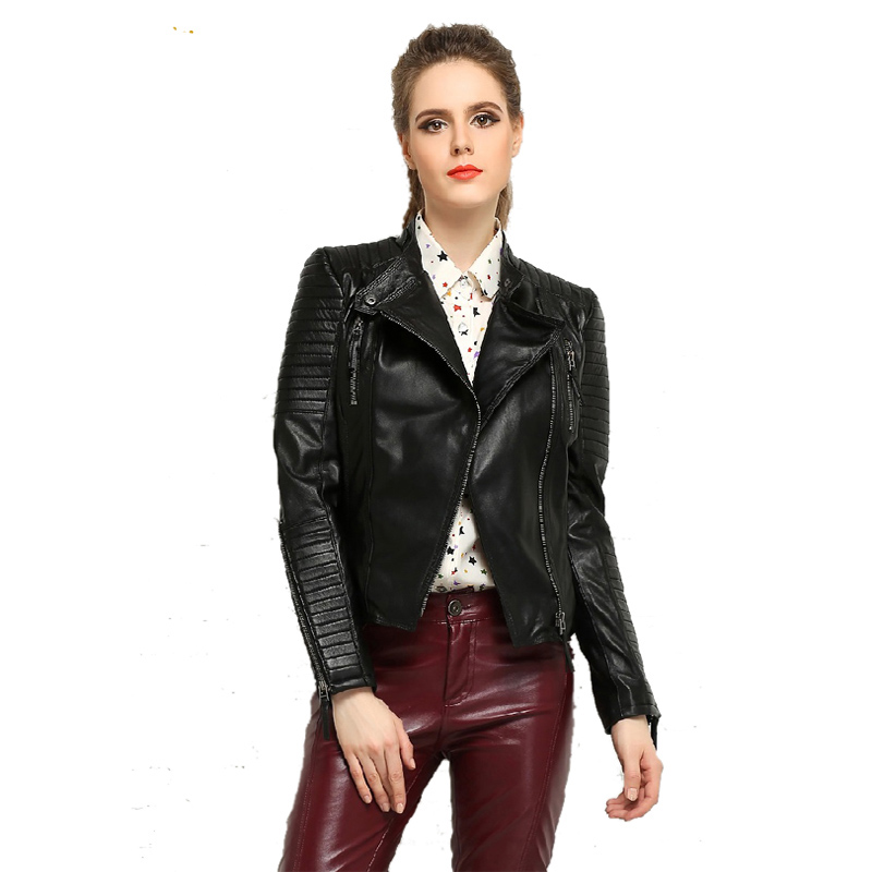 ea7af8a1e76 MAPLESTEED Genuine Leather Jacket Women Leather Jacket Sheepskin Black Soft  Slim Fit Punk Bomber Female Leather Coat Autumn 049 -in Leather & Suede  from ...