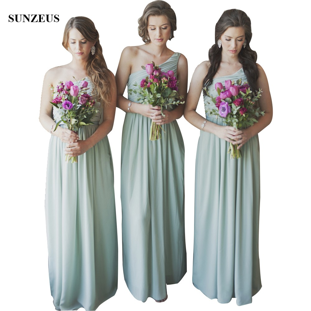 Elegant One Shoulder Chiffon Bridesmaid Dresses With Pleated Corset ...