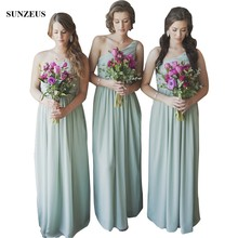 Elegant One Shoulder Chiffon Bridesmaid Dresses With Pleated Corset Simple Long Party Gowns For Wedding gaun pesta dewasa BDS012