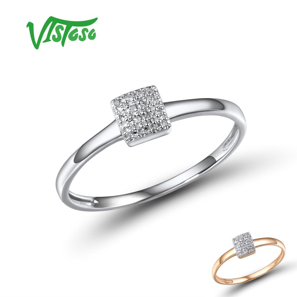 VISTOSO Pure 14K 585 Rose White Gold Sparkling Diamond Delicate Square Ring For Women Anniversary Engagement Trendy Fine Jewelry