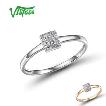 VISTOSO Pure 14K 585 Rose White Gold Sparkling Diamond Delicate Square Ring For Women Anniversary Engagement Trendy Fine Jewelry - DISCOUNT ITEM  49% OFF All Category