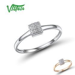 VISTOSO puro 14K 585 oro espumoso blanco rosa diamante delicado anillo cuadrado para las mujeres aniversario compromiso delicado de moda joyería
