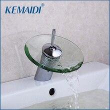 Kemaidi RU наличии БЕСПЛАТНАЯ ДОСТАВКА Ванная комната Стекло кран площадь латунь высокое качество бассейна Водопад смеситель на бортике водопад смеситель