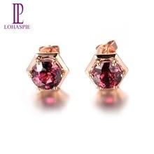 Lohaspie 2.0ct Real Rhodolite Garnet & Sapphire Butterfly Earrings Solid 18k 750 Rose Gold Gemstone Fine Jewelry free shipping