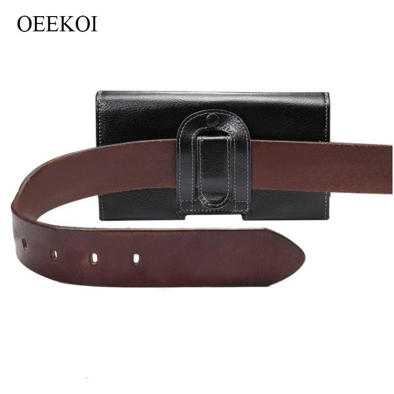 OEEKOI Genuine Leather Belt Clip Lichee Pattern Vertical Pou