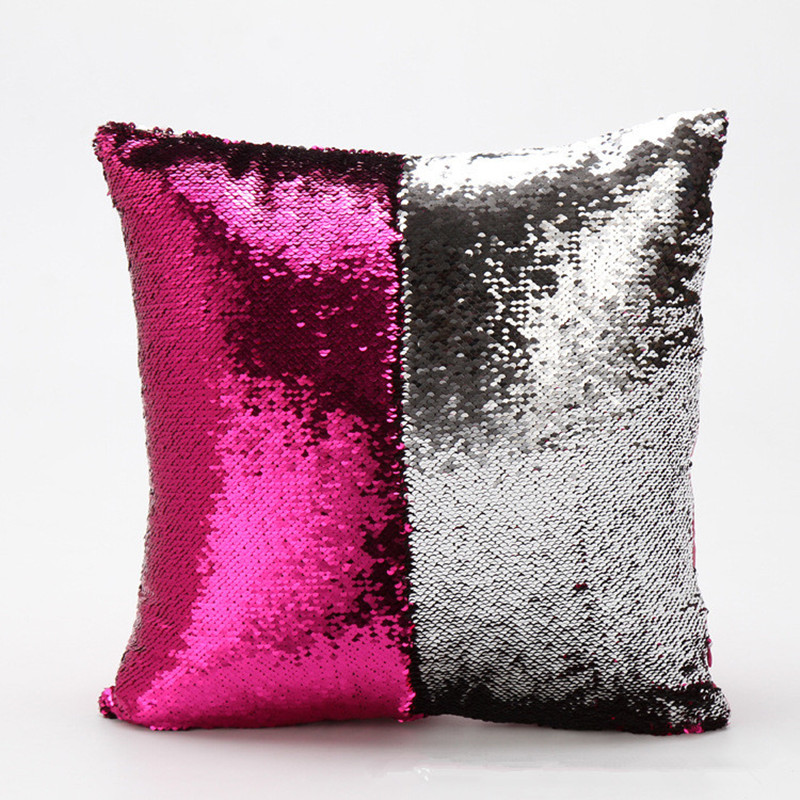 Two sides Sequins + satin pillowcase 15x15inch cushion