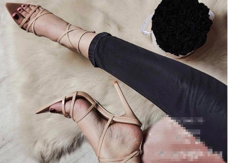 HTB1oY.UX.vrK1RjSspcq6zzSXXay LTARTA Sexy Yellow Sandals Ladies Sandals Summer New Pointed Fish Mouth Cross Stilettos Sharp Point Toe 11.5cm heels ZL-222-5