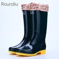 Rouroliu Women Solid Color Tall Rainboots Waterproof Water Shoes Wellies Non Slip Hard Wearing Warm Rain Boots Woman RB25