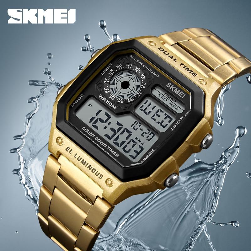 997acf6bf55f SKMEI Hombres Digital Relojes de Primeras Marcas de Lujo Para Hombre Relojes  de Acero Inoxidable A Prueba de agua Moda Relojes Deportivos Relogio  masculino