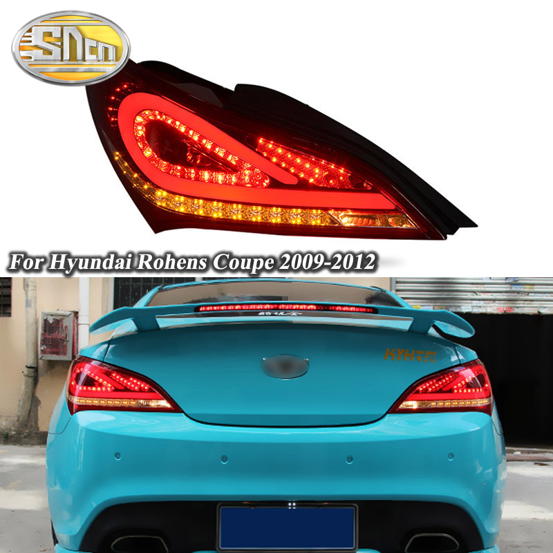 Car LED Tail Light Taillight For Hyundai Rohens Coupe 2009 2012 Rear Running Light + Brake Lamp + Reverse + Turn Signal Light