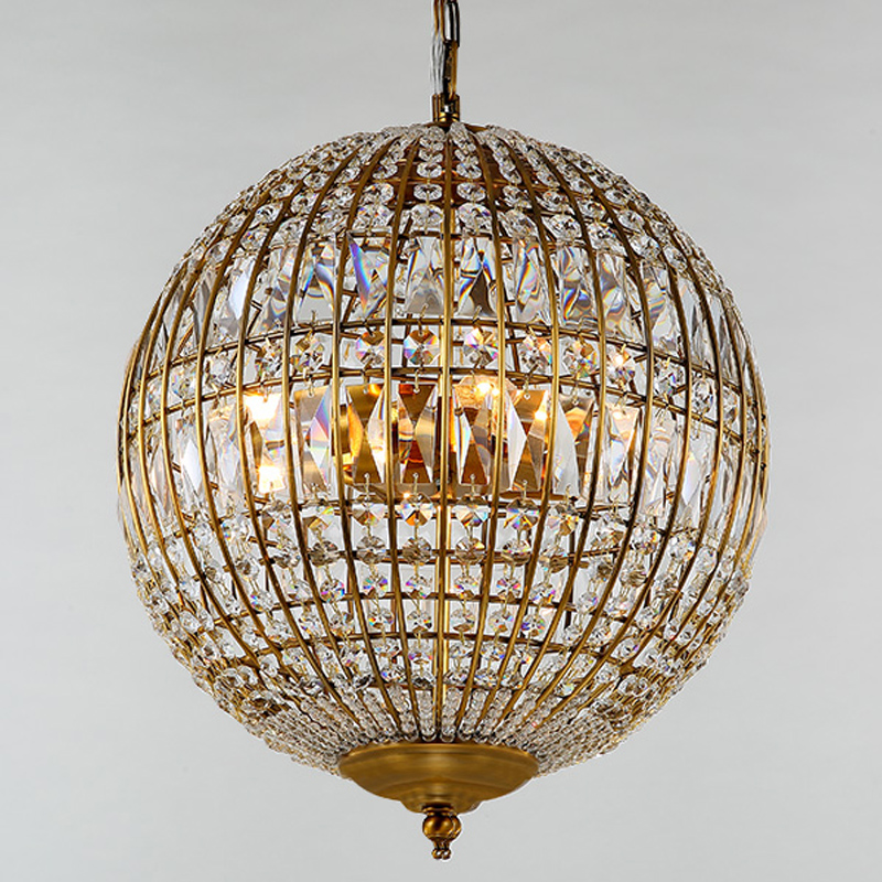 American Style Rustic Industrial Crystal Ball Pendant