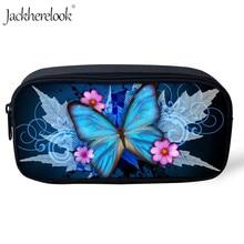 Jackherelook Beauty Butterfly Printed kids Pencil Pen Case Cosmetic Animals Makeup Bag Zipper Make Up Pouch Purse Portable Girls