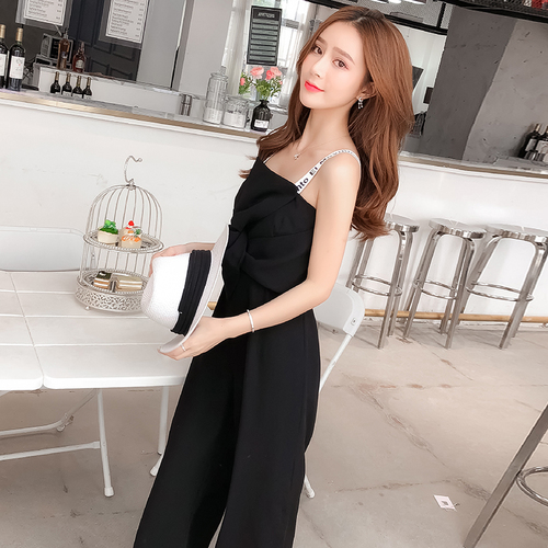 Summer New Sling Bowknot Rompers Womens Jumpsuit Fashion Wide Leg Pants Thin Combinaison Femme Elegant Ol Clothes For Women 4
