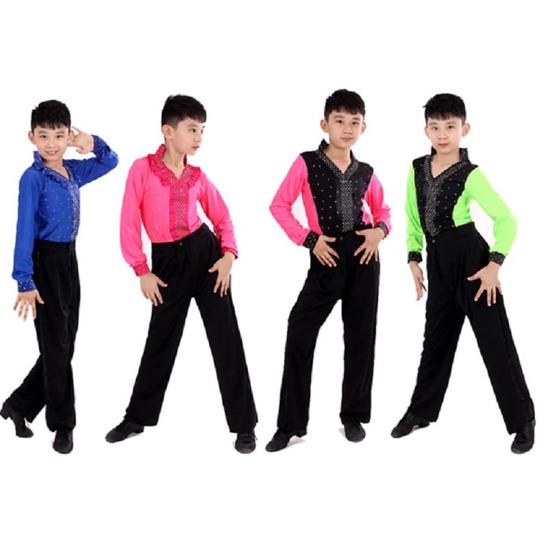 ballroom ragazzo mens white pink dance for boys latin dance shirts men shirt tango children kids top pants with stand collar