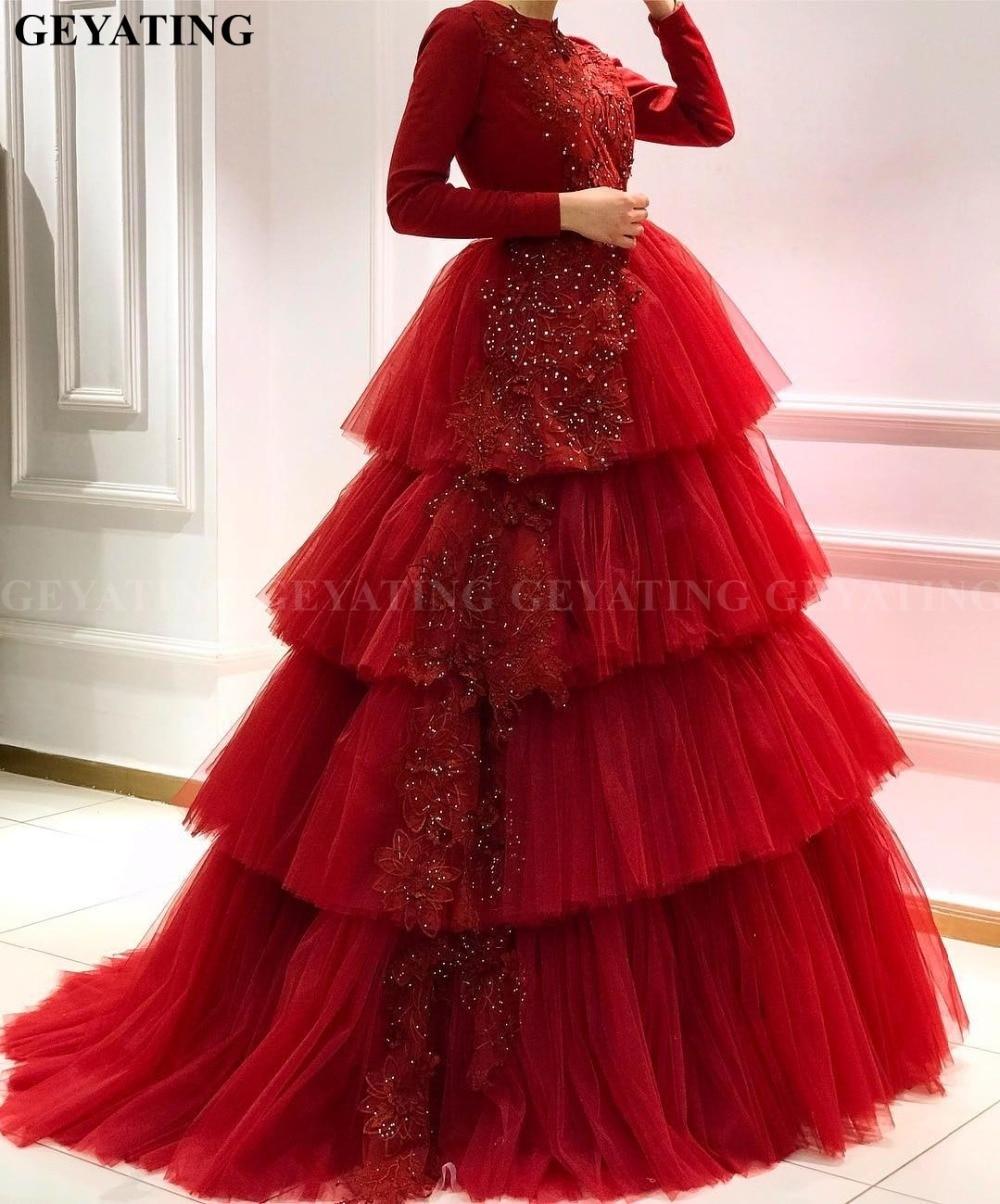 Muslim Red Long Sleeves Arabic   Evening     Dress   2019 Elegant Long Women Formal   Dress   Tiered Tulle Dubai Bridal Prom Party   Dresses