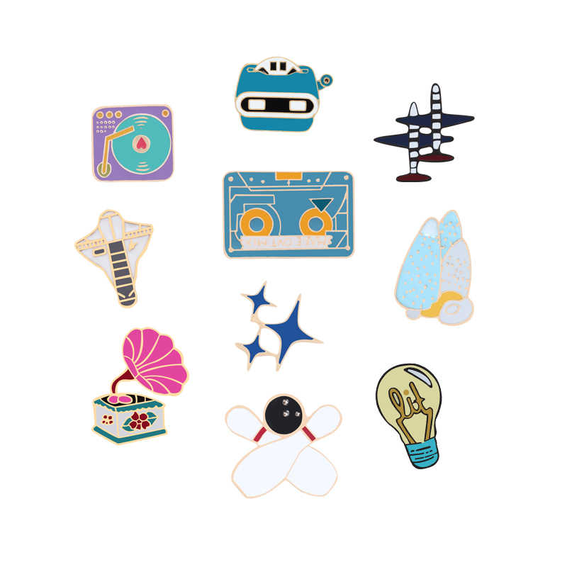 14a73fcc452 Detail Feedback Questions about Cartoon Cute Lapel Metal Brooch Pin  Airplane Recorder Tape Horn Stars Denim Badge Jewelry Brooches Enamel Pins  Boy Girls ...