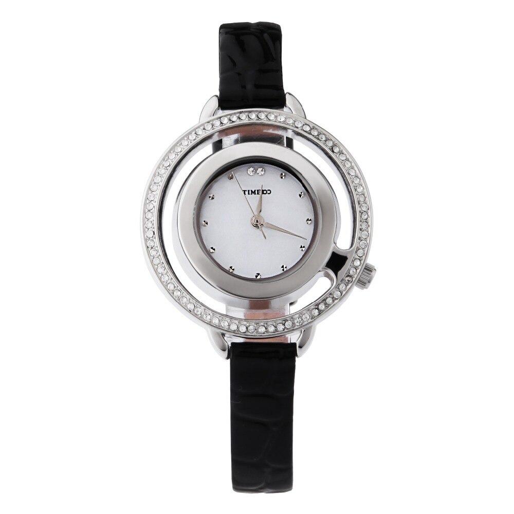New TIME100 Women Quartz Watches Leather Strap Round Skeleton Watch Analog Display Rhinestone Dress Watch Gift Relogio Masculino new time new time n62