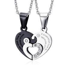 2pcs/lot Stainless Steel Heart Couple Necklace Pendant For Men Women Shiny Rhinestones Double Heart Puzzle Pendant