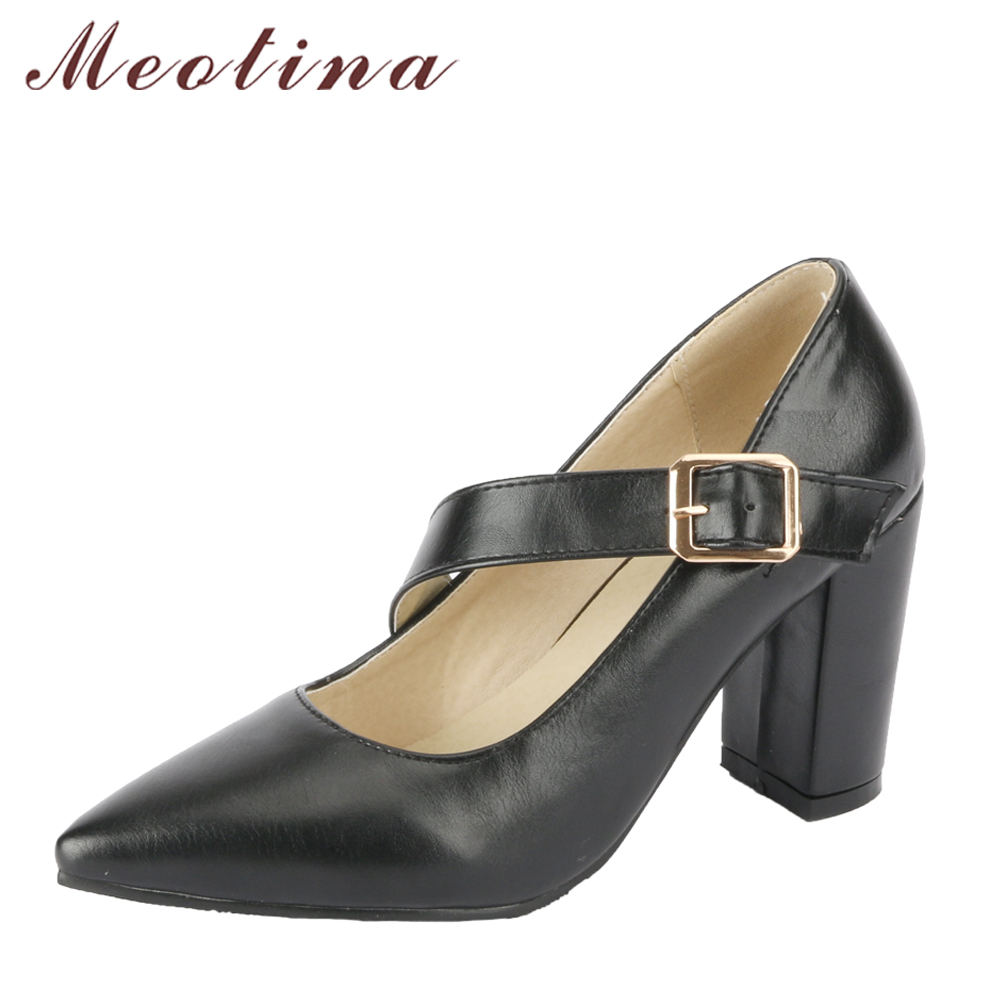 Meotina Women Pumps High Heels Mary Jane Shoes Buckle Pointed Toe Thick Heel Elegant Shoes Lady Party Shoes Black Big Size 33-43 pearl high heels shoes thick green women strange suede abnormal catwalk genuine leather pointed toe strap mary jane lace up