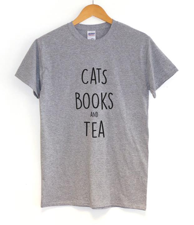 ⃝cats Books And Tea Letters ₪ Print Print Women Tshirt